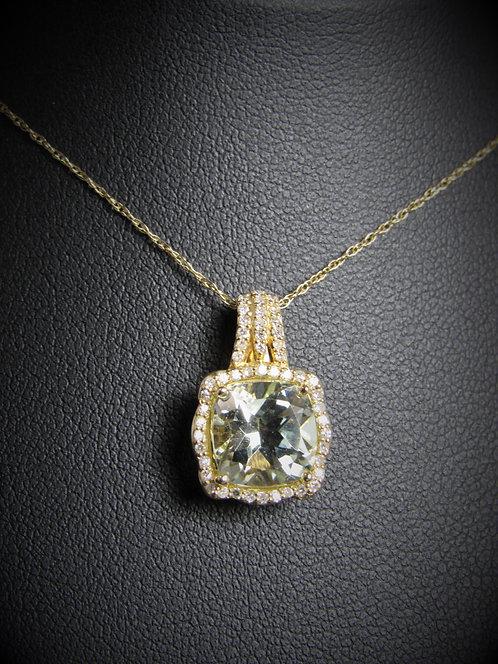 14KT Yellow Gold Diamond And Green Amethyst Pendant