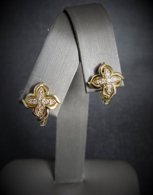 14KT Yellow Gold Diamond Clover Earrings