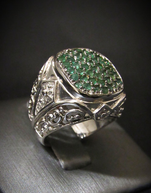 Pavé Emerald Sterling Silver Ring