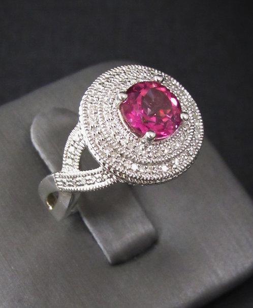 Round Pink Sapphire & Diamond Pavé Sterling Silver Ring