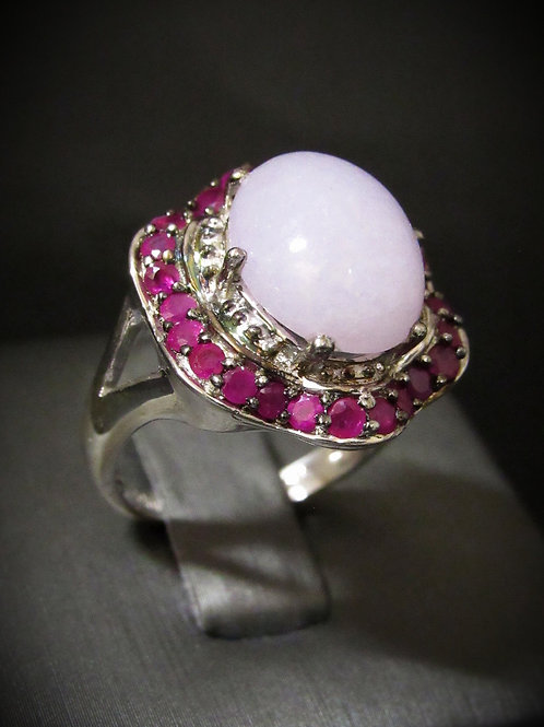 Chalcedony & Rubies Sterling Silver Ring
