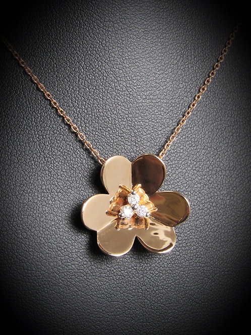 14KT Rose Gold Diamond 3D Flower Pendant