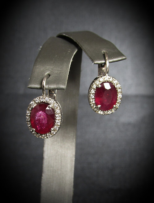 Oval Ruby & White Topaz 14KT Gold Plated Sterling Silver Earrings