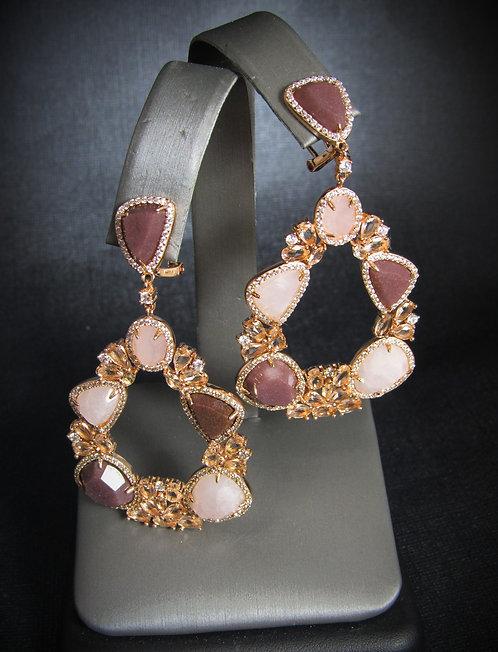 Rose Quartz, Aventurine, & Smoky Topaz 14 KT Gold Plated Earrings