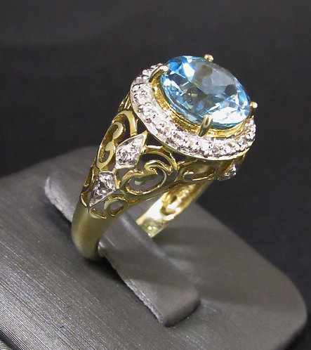 Blue Topaz & White Sapphire 18KT Yellow Gold Plated Sterling Silver Ring