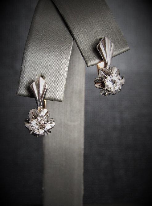 14KT White And Rose Gold Diamond Earrings