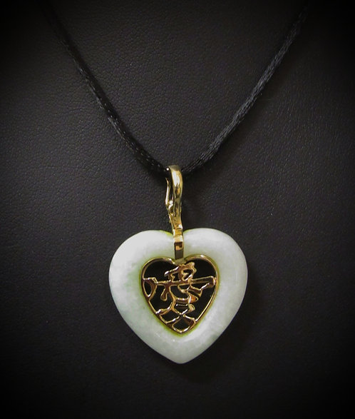 14KT Yellow Gold Hand Carved Antique Green Jade Heart Enhancer Pendant