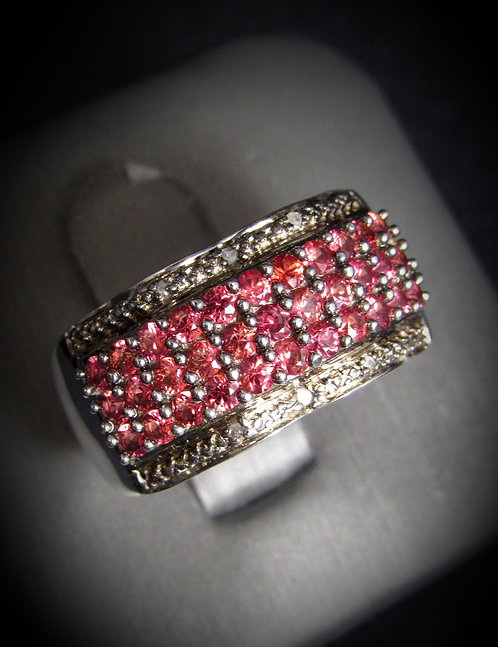 Diamonds & Red Sapphires 18KT Gold Plated Sterling Silver Ring