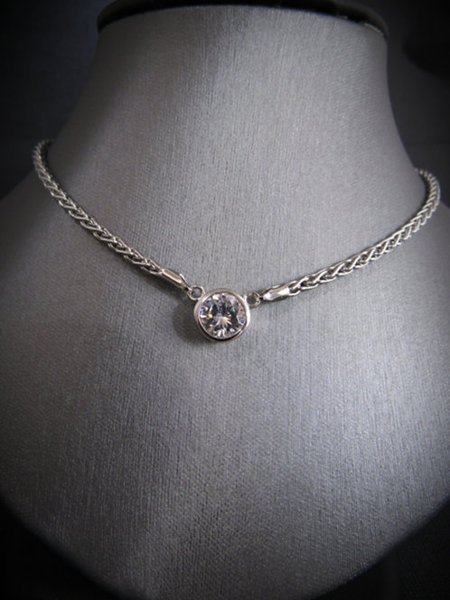 Oval Cubic Zirconia 14KT Gold Plated Sterling Silver Necklace