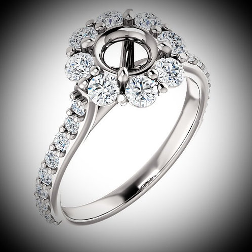 14KT White Gold Diamond Halo Style Engagement Ring Mounting