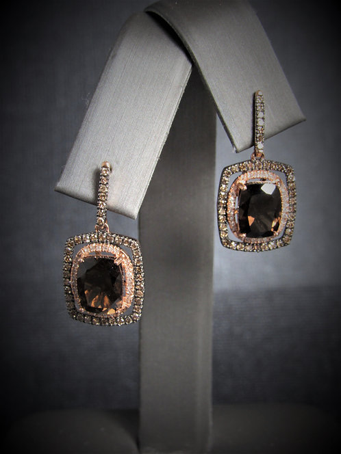 14KT Rose Gold Champagne Diamond And Smoky Topaz Earrings