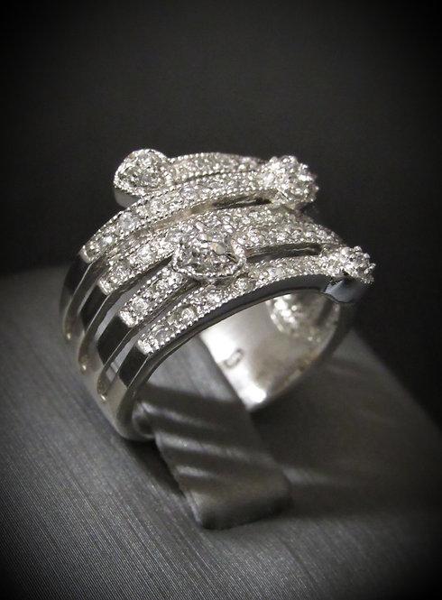 White Topaz Pavé Hearts Sterling Silver Ring