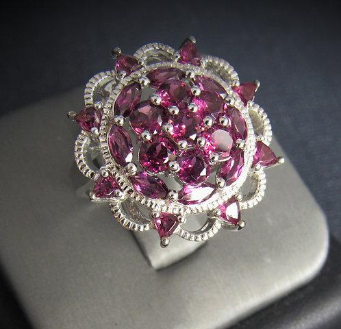 Rhodolite Garnet Flower 18KT Gold Plated Sterling Silver Ring