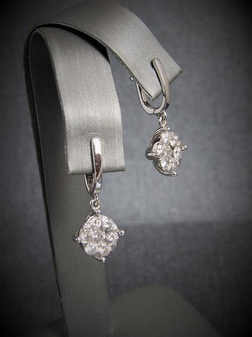 14KT White Gold Diamond Cluster Dangling Earrings