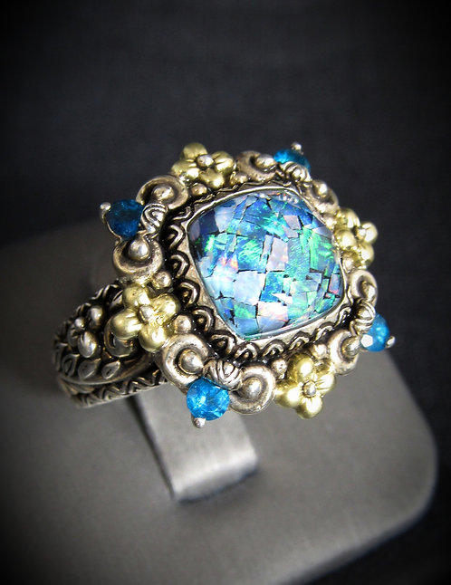 Lab Created Opal & Blue Topaz 14KT Yellow Gold Plated Sterling Silver Ring