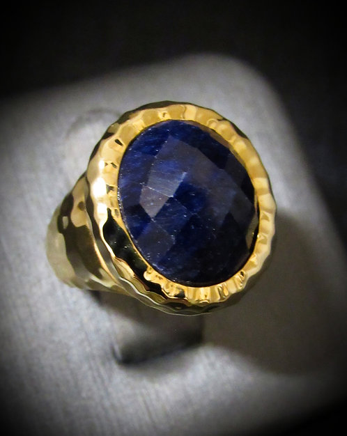 Checkerboard Sapphire & 14KT Yellow Gold Plated Sterling Silver Ring