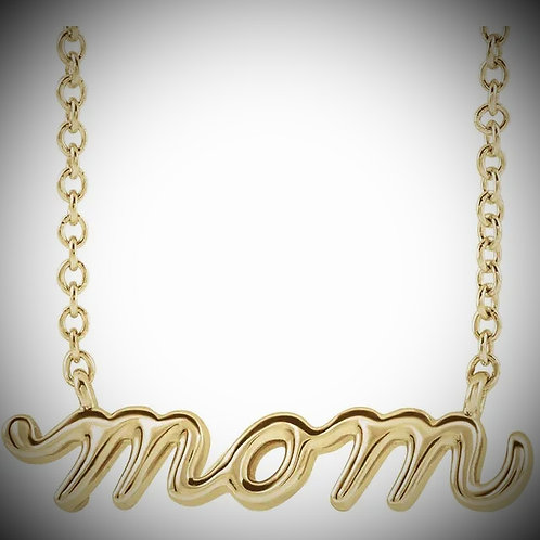 14KT Yellow Gold Mom Script Necklace