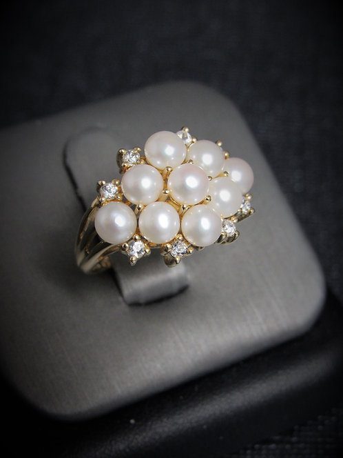 14KT Yellow Gold Diamond And White Pearl Cluster Ring