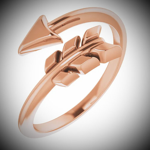 14KT Rose Gold Arrow By-Pass Ring