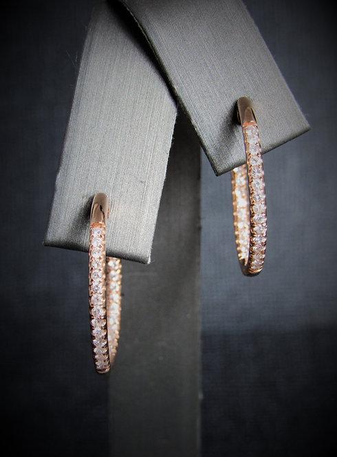14KT Rose Gold Diamond Inside-Outside Hoop Earrings