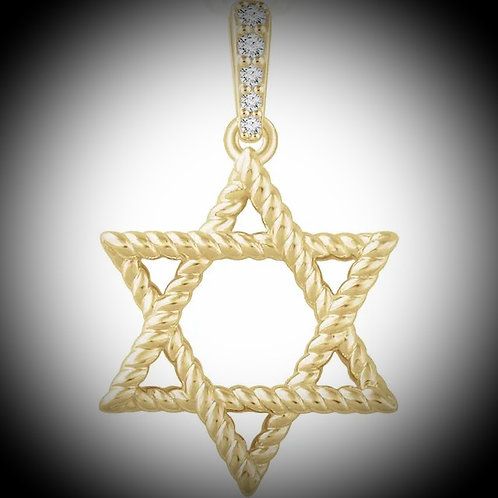 14KT Yellow Gold Diamond Bail Star Of David Pendant