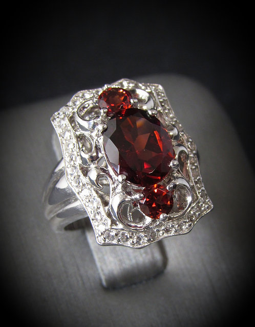 Art Deco Garnet & Sapphire 14KT Gold Plated Sterling Silver Ring