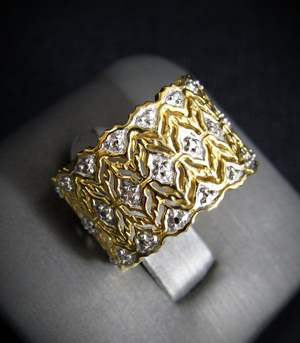 3 File Fogliette 14KT Yellow Gold Plated Sterling Silver Ring