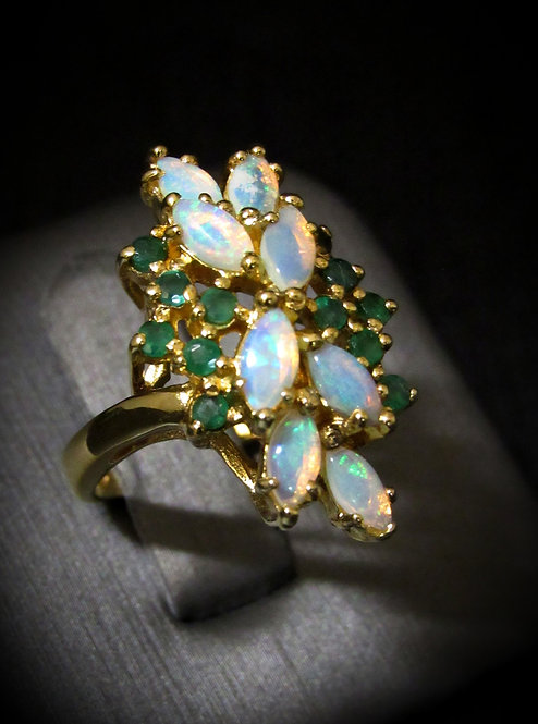 Emerald & Opal 14KT Yellow Gold Plated Sterling Silver Ring