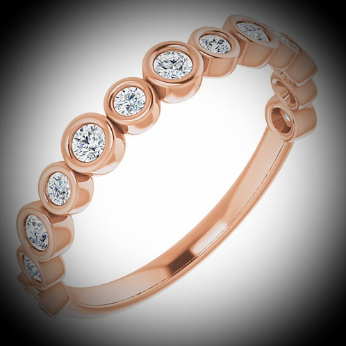 14KT Rose Gold Diamond Bezel Style Band