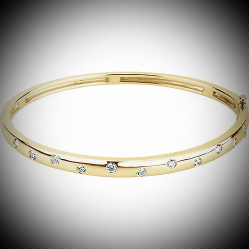 14KT Yellow Gold Diamond Burnish-Style Bangle Bracelet