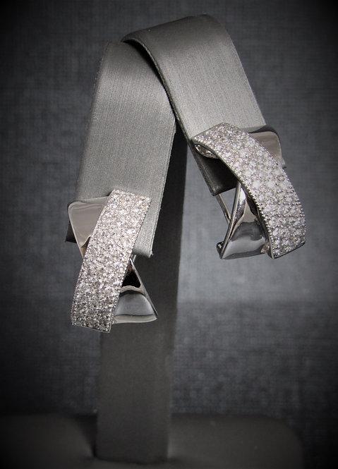 14KT White Gold Diamond Pave Set Criss-Cross Earrings