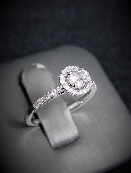 14KT White Gold Round Brilliant Cut Diamond Halo-Style Engagement Ring