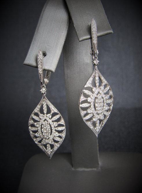 14KT White Gold Diamond Ornate Earrings