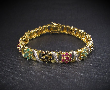 Emerald, Ruby, & Sapphire 14KT Yellow Gold Plated Sterling Silver Bracelet