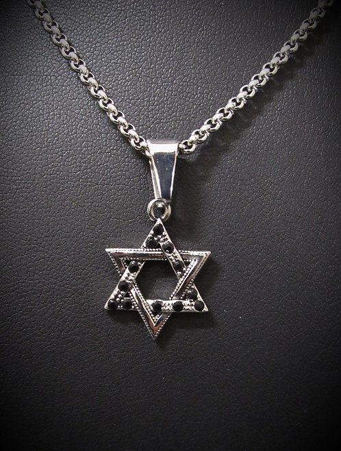 Men's Stainless Steel & Black Spinel Star of David Necklace