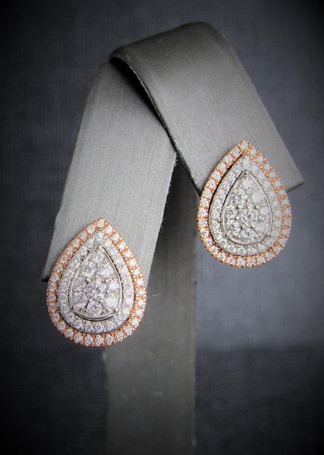 14KT Rose Gold And White Gold Diamond Tear Shape Cluster Earrings