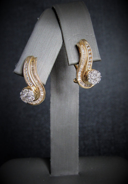 14KT Yellow Gold Diamond Cluster Style Earrings