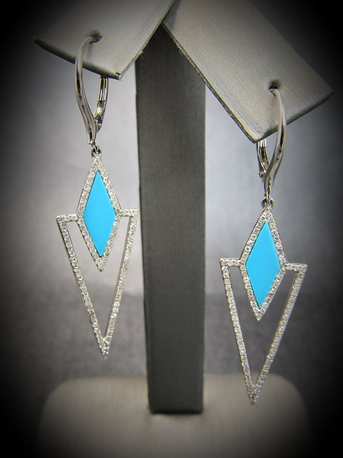 14KT White Gold Diamond And Turquoise Dangling Earrings