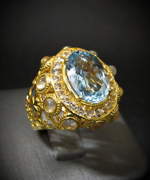 Blue Topaz, White Topaz, & Opalite 18KT Yellow Gold Plated Sterling Silver Ring