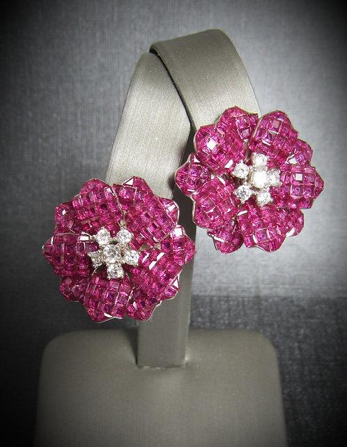 Star FlowerRuby & White Topaz 18KT Gold Plated Sterling Silver Earrings