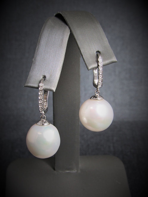 14KT White Gold Diamond And White Pearl Earrings