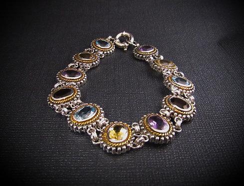Oval Multigem 18KT Gold Plated Sterling Silver Bracelet