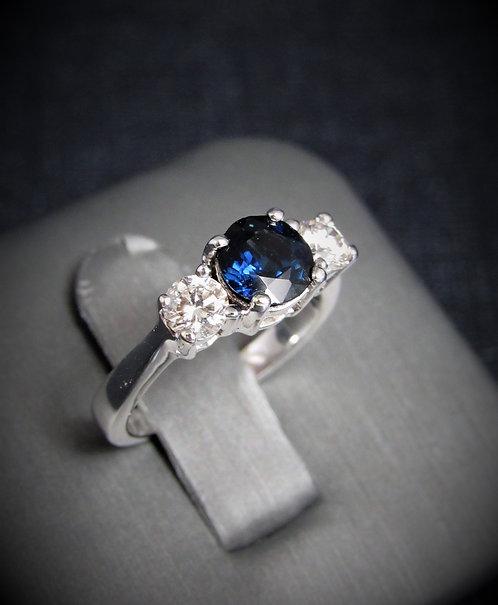 14KT White Gold Sapphire And Diamond Three-Stone Engagement Ring