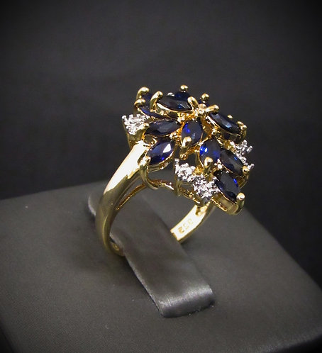 Blue Sapphire & Diamonds 14KT Yellow Gold Plated Sterling Silver Ring