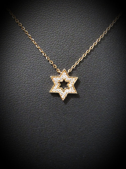 18KT Rose Gold Pavé Diamond Star of David Necklace