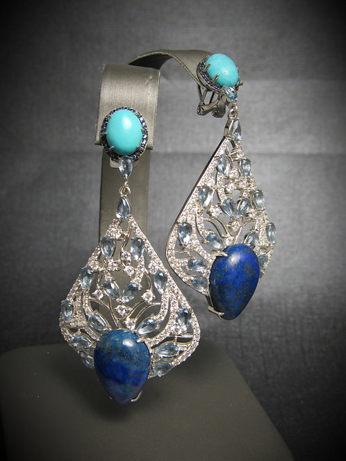 Turquoise, Lapis, Sapphire, & Topaz 14KT Plated Sterling Silver Earrings