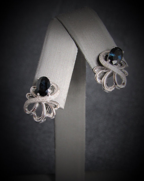 14KT White Gold Diamond And Oval Sapphire Earrings