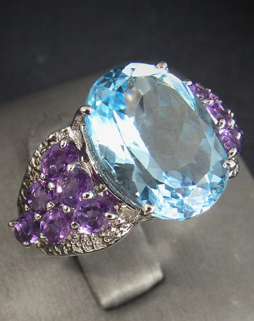 Blue Topaz With Purple Amethyst 18KT Gold Plated Sterling Silver Ring