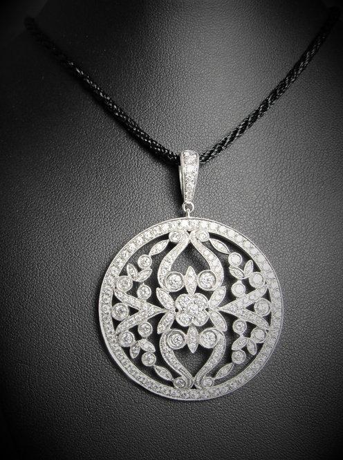 18KT White Gold Diamond Fancy Ornate Pendant