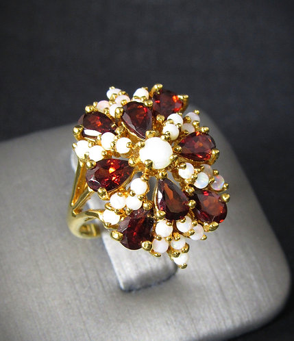 Garnet & Opal 18KT Yellow Gold Plated Sterling Silver Ring